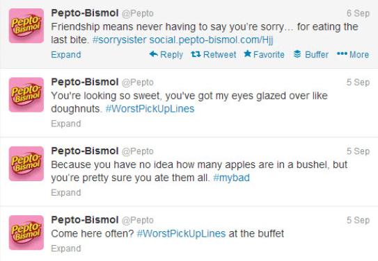 Mal uso de Twitter por Pepto-Bismol