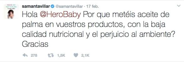Tweet respuesta Samantha Villar a la crisis de Hero Baby