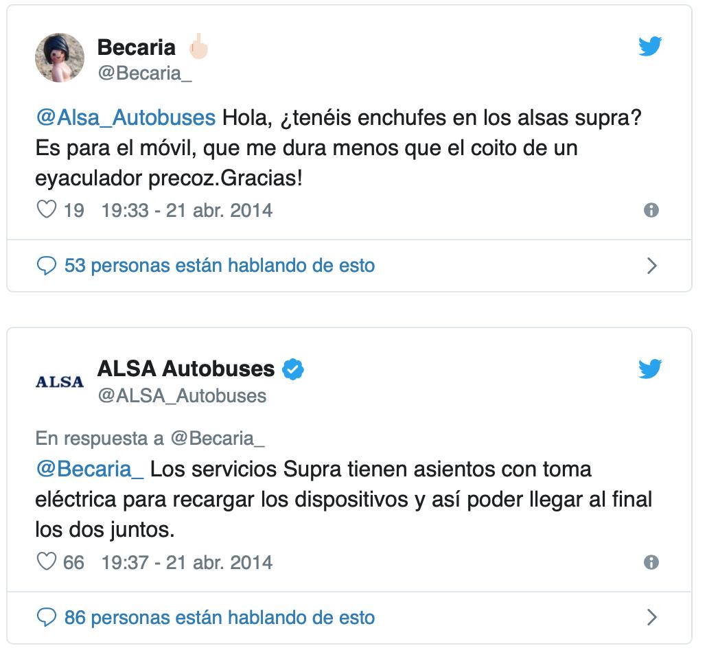 Tweet Autobuses Alsa ejemplo de buena gestión de la reputación online